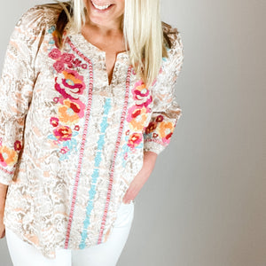 Casey Embroidered Top-Casey Embroidered Top The Casey Embroidered Top is a feminine statement piece! This top is in a lightweight fabric with bold beautiful hues of salmon, hot pink and tan. It has a v-neck line, 3/4 relaxed fit bell sleeves and can be styled with white denim shorts or jeans. -East Coast She, South Carolina