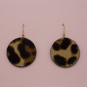 Round faux leather leopard print dangle jewelry earrings