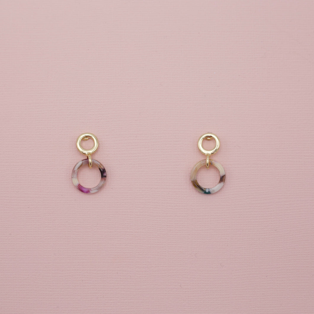 Ivory multi colored dainty acrylic hoop jewelry earrings on small circle hoop studs