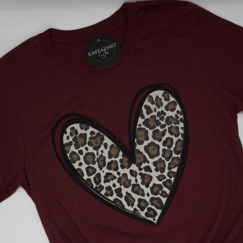 Leopard Print Heart Tee-Find your perfect casual tops by searching our collection of women's tops online today! Shop trendy tanks, blouses, tees, t-shirts, bodysuits and more. New items added daily. Tops for women.-East Coast She, South Carolina