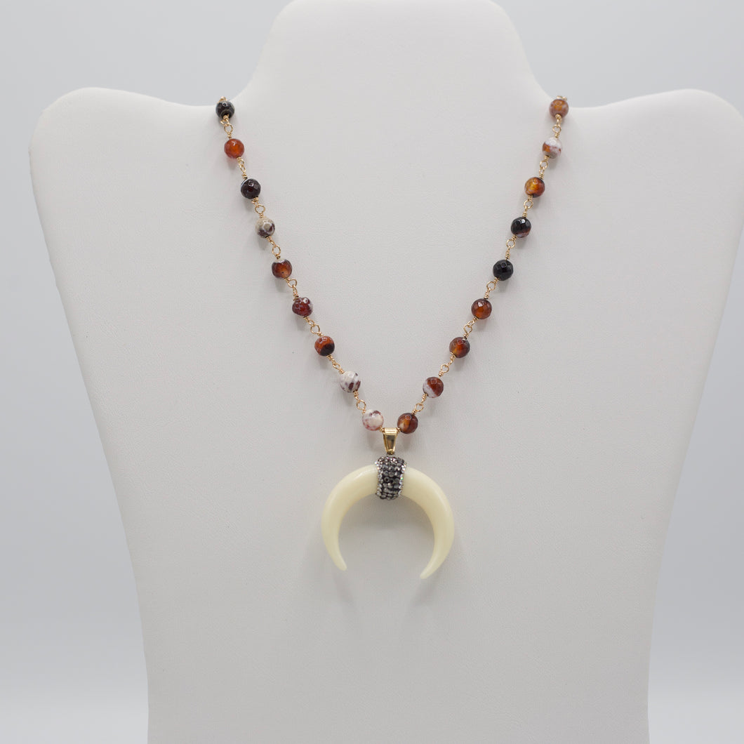 Brown multi colored semi precious stone jewelry necklace with crescent horn pendant