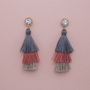 Round diamond crystal studs with drop dark gray tassel jewelry earrings