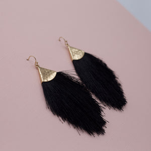 Black tassel fringe on hammered gold geometric shape jewelry french hook earrings