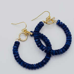 Akin Blue Hoop Beaded Earrings-We provide you with the worlds best quality affordable jewelry and earrings. Complete your outfit with our collection of stylish and sophisticated jewelry for all of your occasions. Earrings for your casual outfits. Affordable, top selling stud, post, hoop, dangle, drop, acrylic, and tassel. -East Coast She, South Carolina