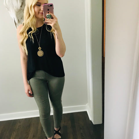 Maelys Moto Jeggings-The original moto jeggings in black or olive your gonna love + they will solve the problem of what do I wear to the outdoor concert tonight!! These moto jeggings will pair with any tank or top of your choosing. Add those new espadrilles you've been dying to wear too! Follow us on Facebook and shop our New Arrivals!-East Coast She, South Carolina