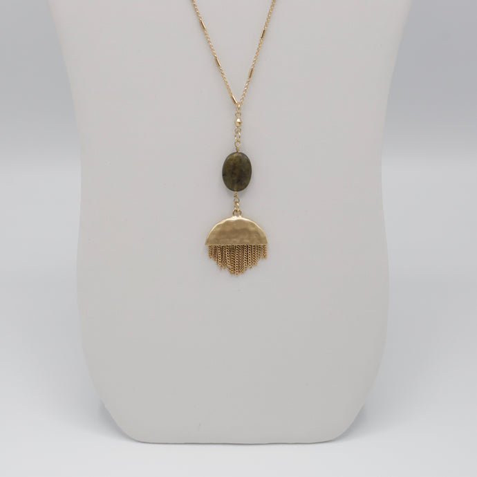 Thirty one inch long gold jewelry necklace with labradorite stone on half circle gold metal fringe