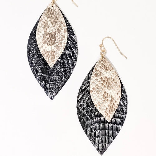 Jojo Earrings-Jojo Earrings These soft nature-inspired leather earrings are great for gift giving. Not only are they lightweight but easy on the eyes and pocketbook too! Leather Fish hook style Tear drop shapes Sizing - One size | 2