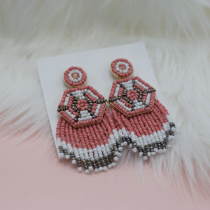 Pink gold white gray seed bead tassel jewelry earrings