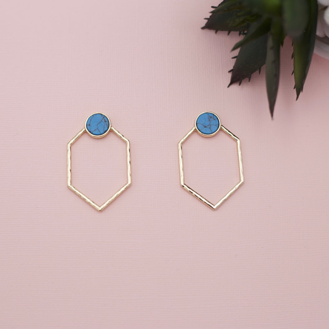 Round turqoise studs with drop geometric gold attached jewelry earrings