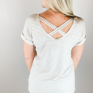 Malva Ribbed Striped Crossback Knit Top