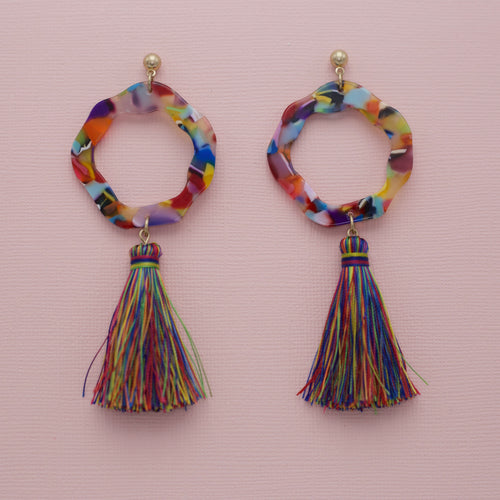 Multi colored round acrylic jewelry earrings with drop multi colored tassels