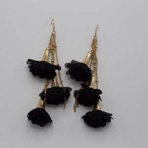 Black blossom tassel jewelry earrings on gold fish hooks