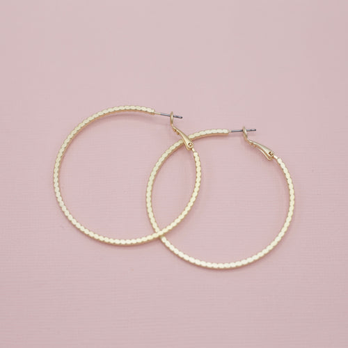 Suzanna Earrings-Different than your standard smooth women's hoops, these give an artisanal carved textured look! Large - 2