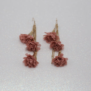 Blush blossom tassel jewelry earrings on gold fish hooks