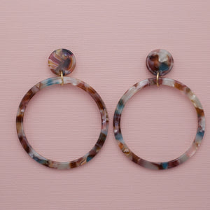Multi colored acrylic hoop dangle drop jewelry earrings