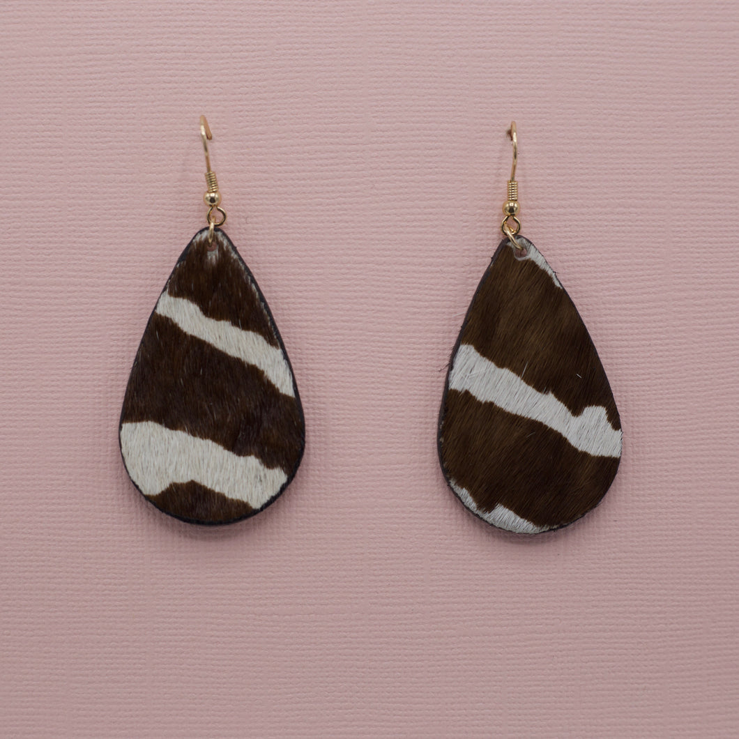 Faux leather cowhide teardrop zebra french hook jewelry earrings