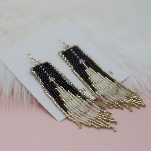 Seed bead black and gold tassel jewelry earrings