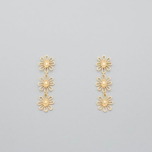 Coralie Gold Flower Dangle Earrings-Coralie Gold Flower Dangle Earrings he eye-catching Coralie Gold Flower Dangle Earrings with a multi-colored sundress and sandals. 18K gold plated Stud backs Made in the USA Each earring weighs 0.1 ozs. Sizing - One size | 2
