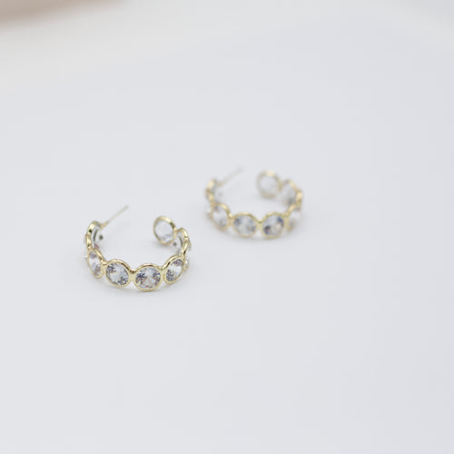 Poppy Clear Hoop Diamond Earrings-We provide you with the worlds best quality affordable jewelry and earrings. Complete your outfit with our collection of stylish and sophisticated jewelry for all of your occasions. Earrings for your casual outfits. Affordable, top selling stud, post, hoop, dangle, drop, acrylic, and tassel. -East Coast She, South Carolina