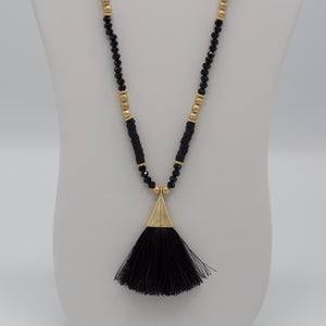 Black colored tassel jewelry necklaces with black colored beads