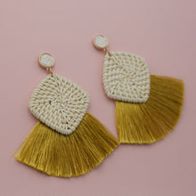 Small round straw studs with straw square shapes and mustard tassel jewelry earrings