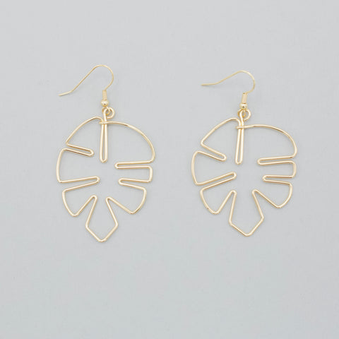 Shaina Earrings-The Shaina Earrings are intricately formed by using gold plated wire to form a resemblance of a palm leaf with added fish hooks to dangle from your lobes. 18K Gold plated. Fish hook backs. Palm leaf design. Follow us on Facebook and don't forget to take a look at our New Arrivals!-East Coast She, South Carolina