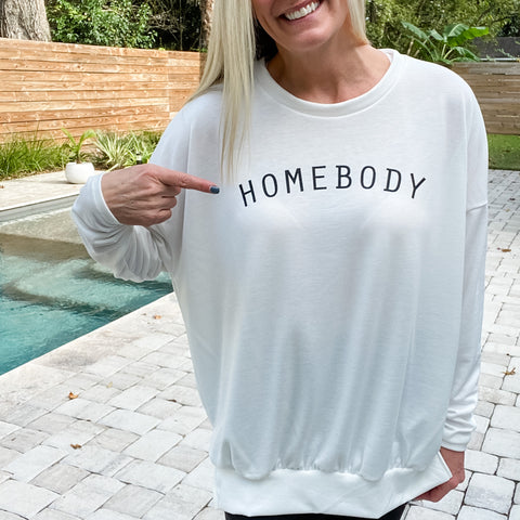 Homebody Long Sleeve Sweatshirt-Find your perfect casual tops by searching our collection of women's tops online today! Shop trendy tanks, blouses, tees, sweaters and more. New items added daily. Tops for women.-East Coast She, South Carolina