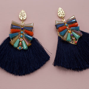 Gold hammered teardrop post with multi colored acrylic bars and navy blue tassel jewelry earrings