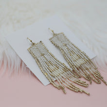 Seed bead white and gold tassel jewelry earrings