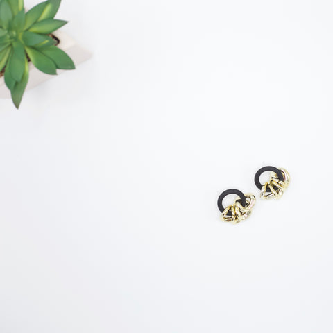"Patty Small Dangle Earrings-Rubber meets metal in the Patty Earrings. Women's earrings that are cute, lightweight, dainty dangles will go with just about any ensemble. 1"" Rubber Circles 1 1/4"" Long 18K Gold Plated Made in the USA.-East Coast She, South Carolina"