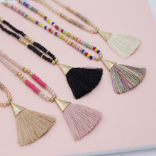 Multi colored tassel jewelry necklaces with multi colored beads