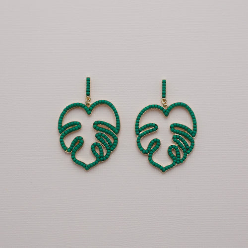 Green seed bead palm frond dangle earrings