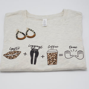 Lipstick + Leggings + Coffee Tee