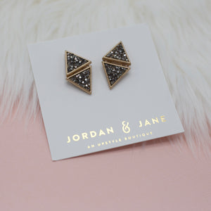 Triangle sparkle beaded gold jewelry stud earrings