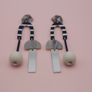 Black and white multi designed acrylic drop earrings