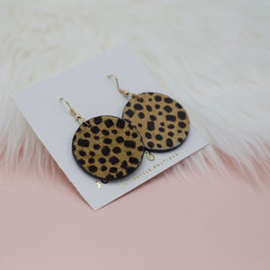 Round faux leather cheetah print dangle jewelry earrings