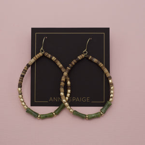 Olive beaded teardrop hoop earrings