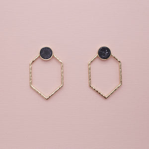Round black studs with drop geometric gold attached jewelry earrings