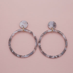 Gray multi colored acrylic hoop dangle drop jewelry earrings