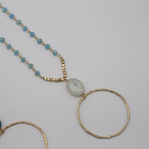 Glass beads on long chain jewelry necklaces with a opal pendant