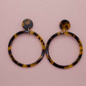 Tortoise multi colored acrylic hoop dangle drop jewelry earrings