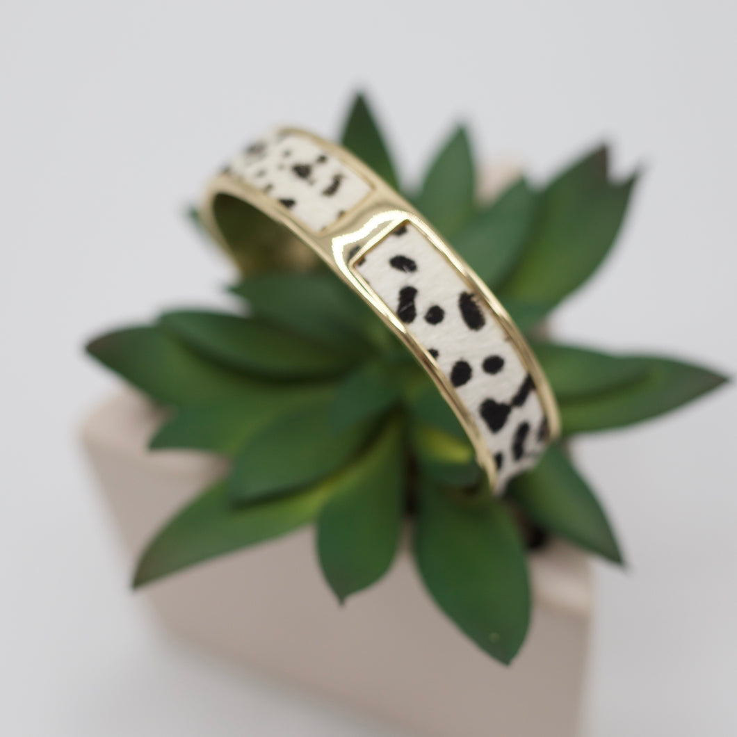 White and black animal print gold cuff bracelet