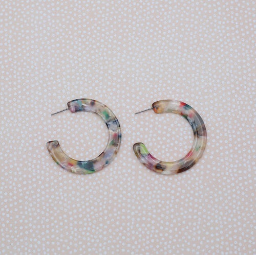 Two inch in length multi colored acrylic tortoise and hoop earrings