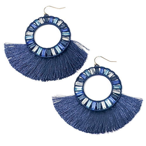 Kiki Dangle Earrings-These earrings are such a fun way to dress up your look! The Kiki Dangle Earrings are made using small rectangle beads of dark blue, light blue and clear formed in a circle and attaching navy tassel details. Rectangle beads Tassels Fish hooks Sizing - One size | 2