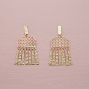 Gold three tiered filigree tassel jewelry earrings