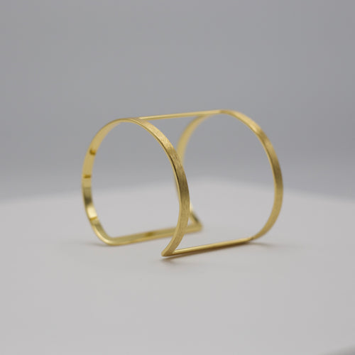 Two band gold bangle style cuff bracelet