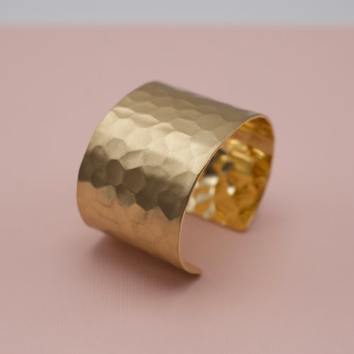 Gold hammered adjustable metal cuff bracelet