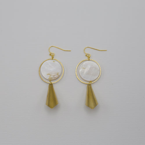 Fish hook style gold metal earrings with circles of seashell drops and gold metal curved cones