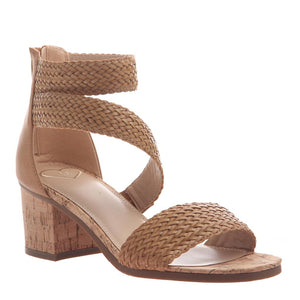 SKYSCRAPER in BOXWOOD Heeled Sandals-Skyscraper in boxwood redefines style with it's woven asymmetrical straps and cork-wrapped heel. The all-over latte shade is oh-so-chic and its the perfect playmate to pair with your favorite summer pieces. Heeled sandal. Woven straps. Back zipper closure. New Arrivals!-East Coast She, South Carolina