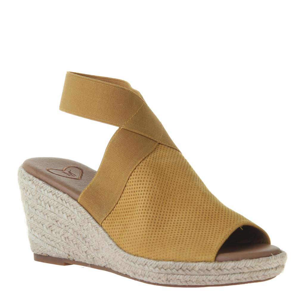 MADELINE - SUNNY DAY in MUSTARD Wedge Sandals-East Coast She, South Carolina